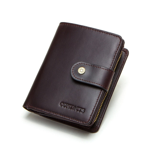 100% Genuine Leather Men Wallets Zipper Coin Purse Small Card Holder