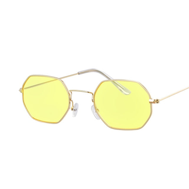Hexagon Yellow Sunglasses Retro Brand Designer Classic Sun Glasses For women