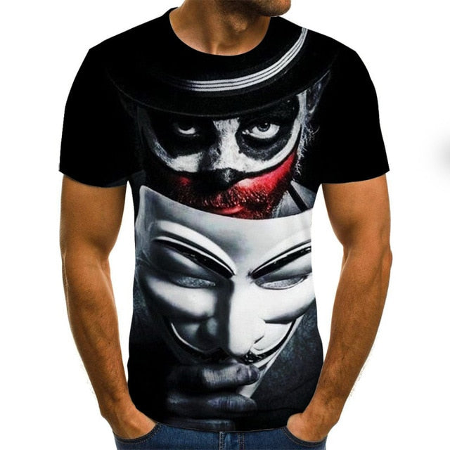 2020 Clown 3D Printed T Shirt Men Joker Face T Shirts Tops & Tees XXS-6XL