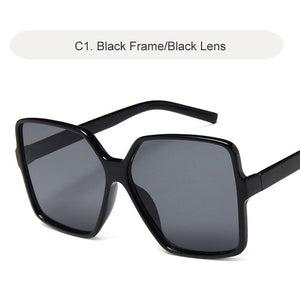 Vintage Oversize Square Big Frame Women Sun Glasses Black