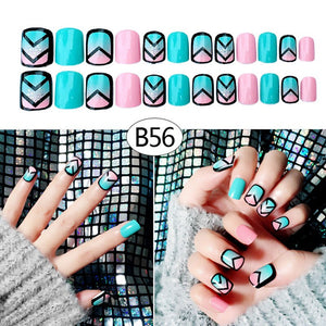 Hot 24 Pcs/Set Women Lady 3D Fake Nails With Glue