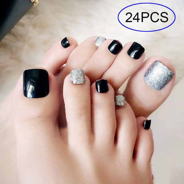 Sexy Fake Nails with glue 24 Pcs 3D False Toe Full Nail Tips Lady Black Silver Glitter artificial nails