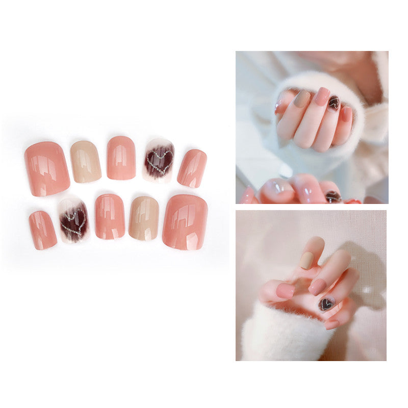 24pcs/set  Women Fashion Nail Art Acrylic Pink Full Finger Fake Nails Tips Decorated Double-sided with Tools Kit
