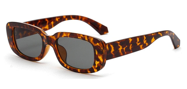 Kachawoo retro rectangle sunglasses black leopard