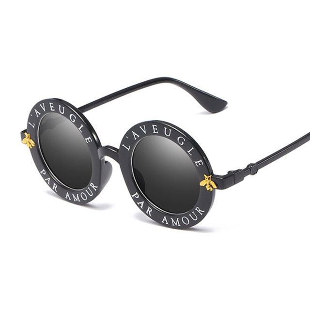 Retro Small Round Shades Black Metal Color Sun Glasses Fashion Designer Lunette