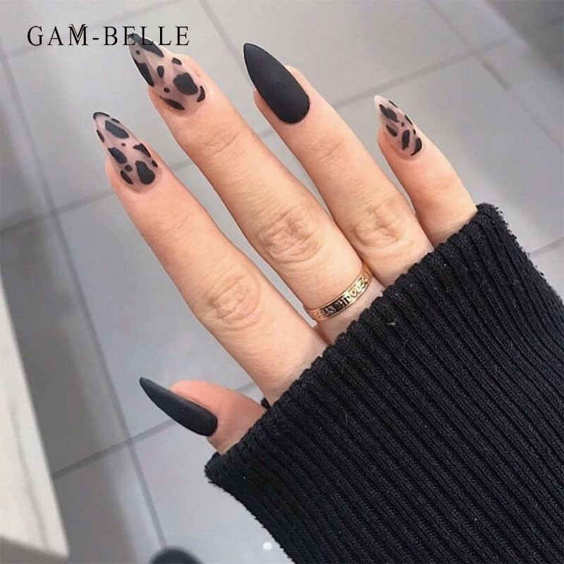 GAM-BELLE 24 Pcs Almond Matte Black Leopard False Nail Tips Press On Designed Full Cover French Fake Fingernails With Glue