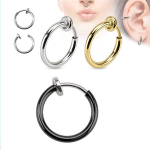 2pcs Invisible No Ear Hole Earrings Clip Nose Ring