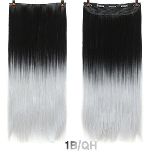 Hair 24'' Long Straight Women Clip in Hair Extensions Black Brown