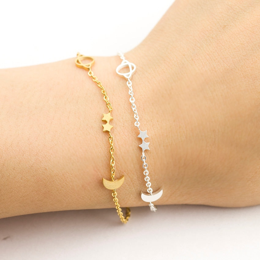 Muslim Ramadan Gold Silver Simple Romantic Couple Moon Star Saturn Bracelet for Women