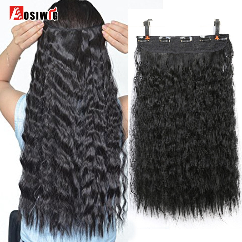 "22"" Water Wave Long Curly 5 Clip Hair Extension Heat Resistant"