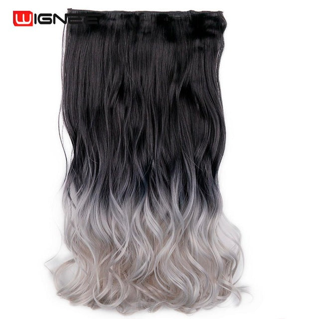 Wignee High Temperature Synthetic Fiber 5 Clips In Hair Extensions