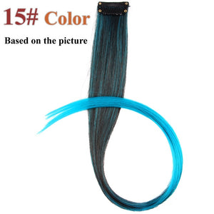 Colored Long Straight Synthetic Hair Extensions Wavy Pure Clip In