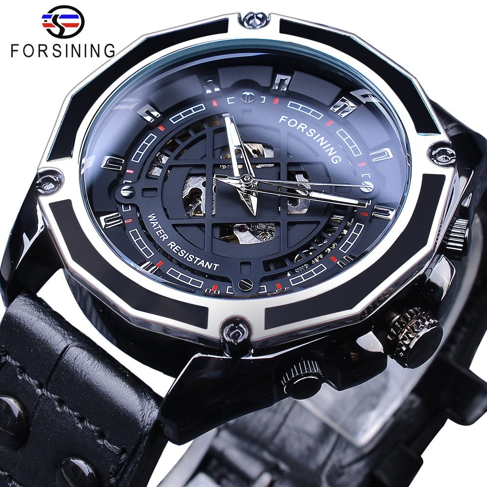 Forsining Military Design Black Leather Mens Automatic Sport Skeleton Mechanical Wrist Watch