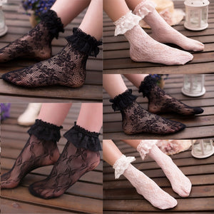 Sexy Lace Floral Socks Women Ruffle Soft Elastic Fishnet