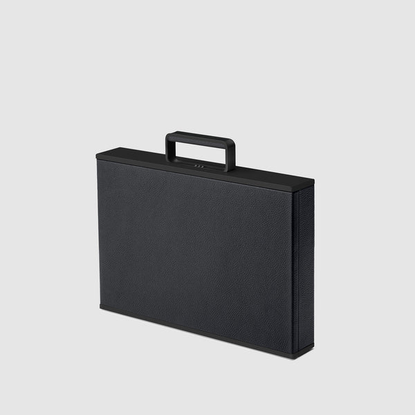 Charles Simon Mackenzie attache case in all black 3/4 view