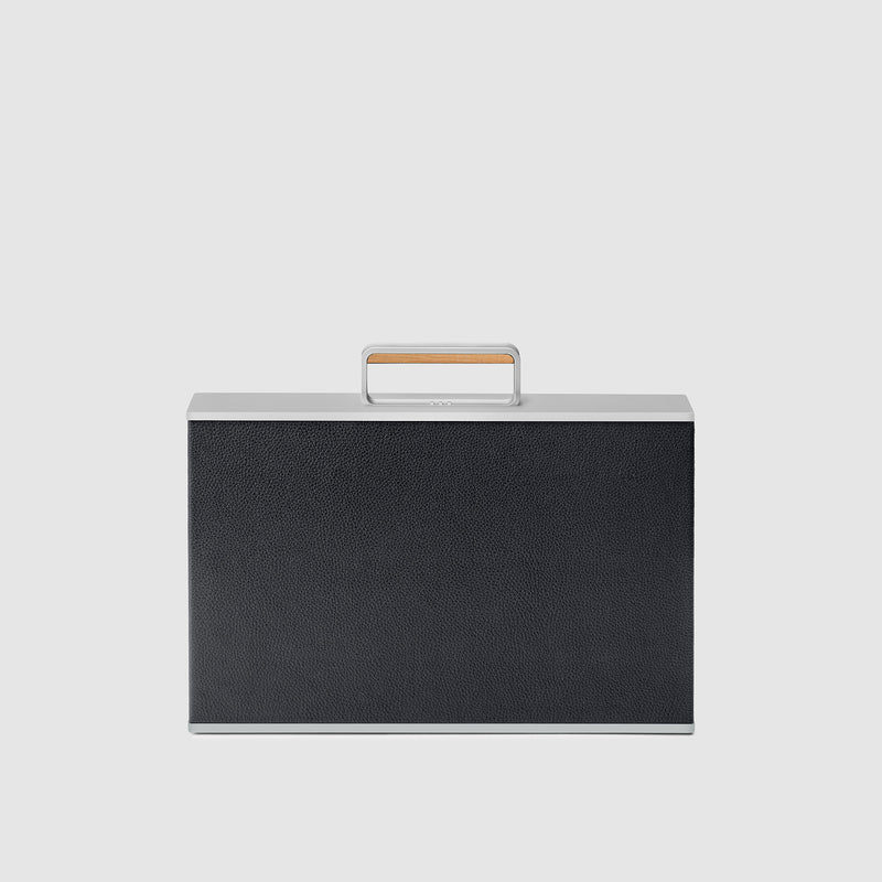 Charles Simon Mackenzie briefcase in black with maple handle front view