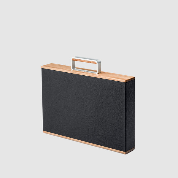 Charles Simon Mackenzie Original attache case in black 3/4 view