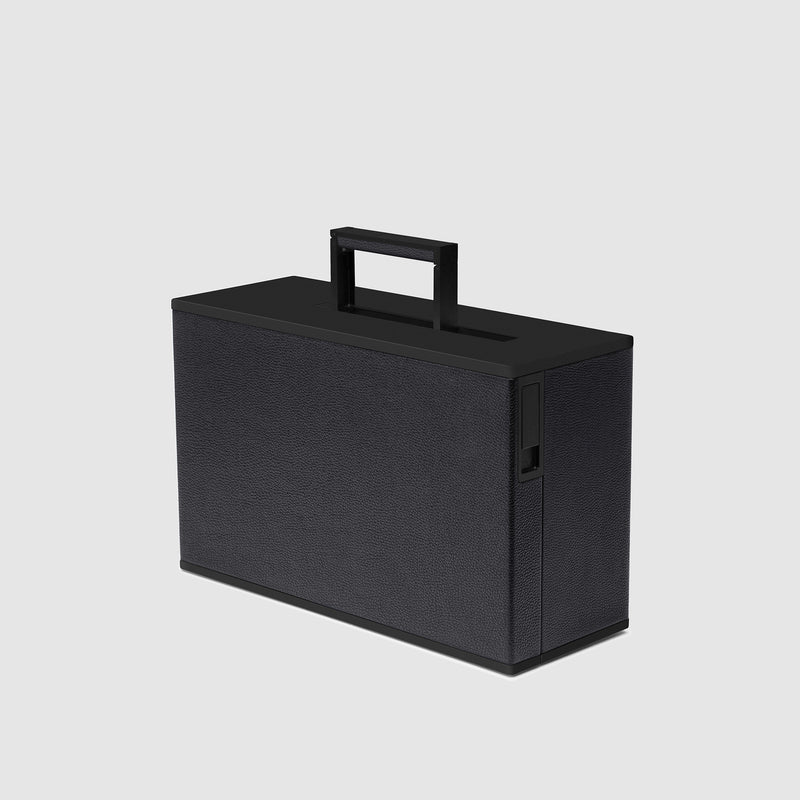Charles Simon Rupert carry-on suitcase in all black 3/4 view