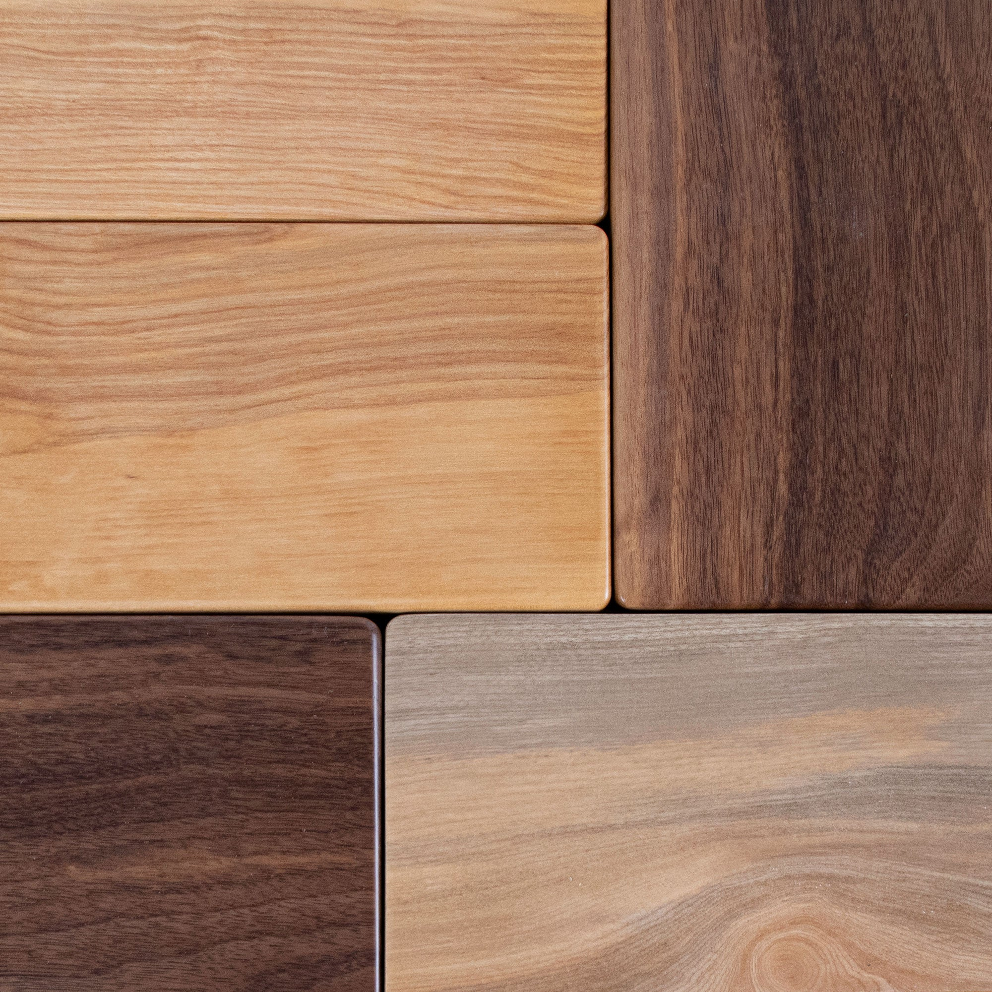 Samples of wood species and different patinas