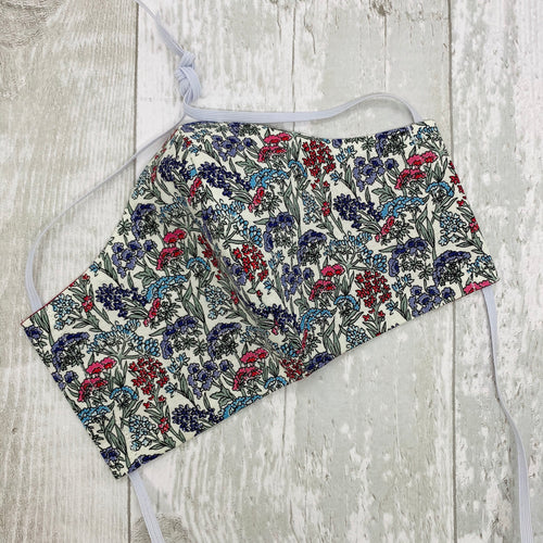 Liberty Print Face Mask. Reusable. Liberty Print Flower Show. Liberty Yorkshire Meadow. Pleated or Moulded Style