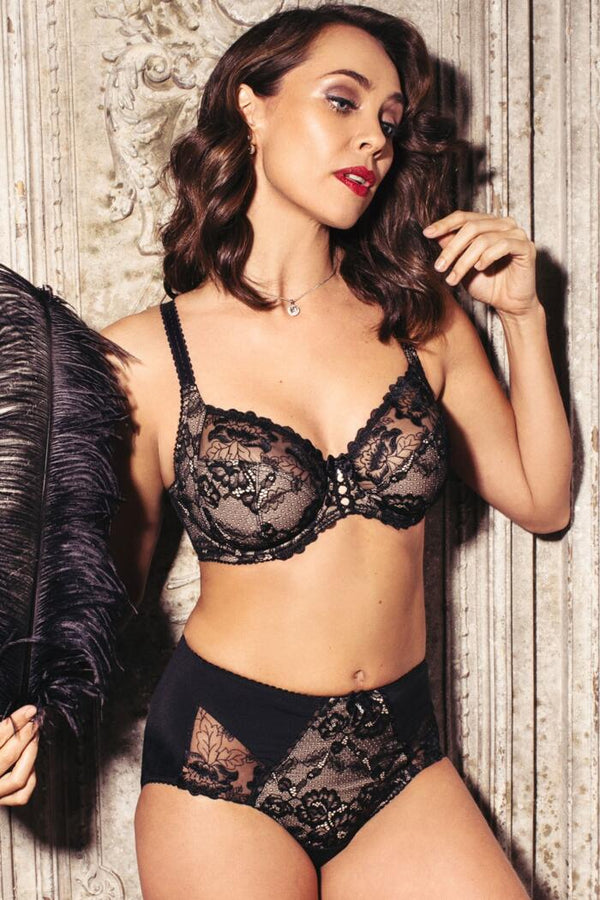 Sofia Lace Side Support Bra Black