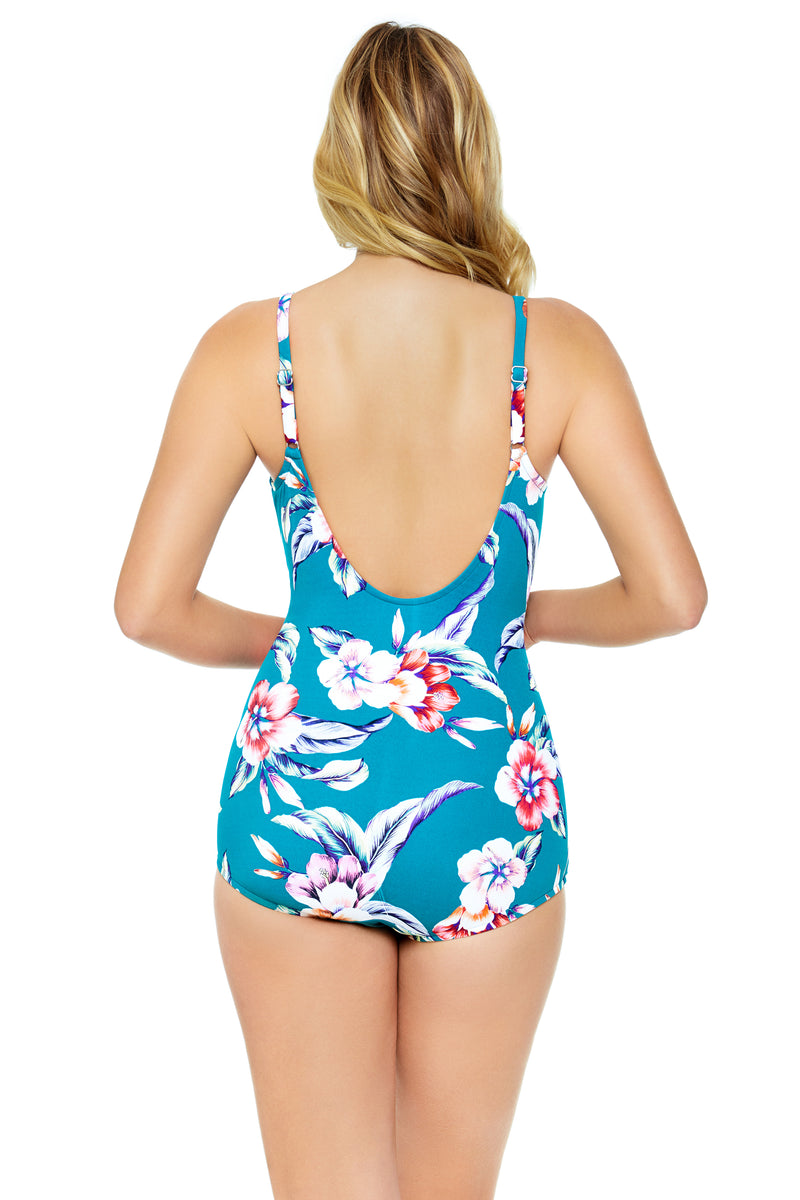 Vintage Floral Crossover One Piece Swimsuit