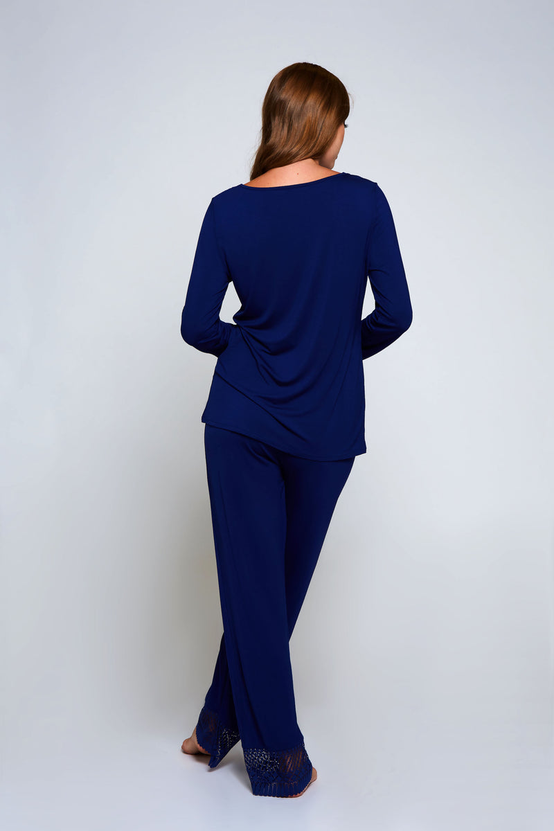 Plus Emily Pajama Set Navy