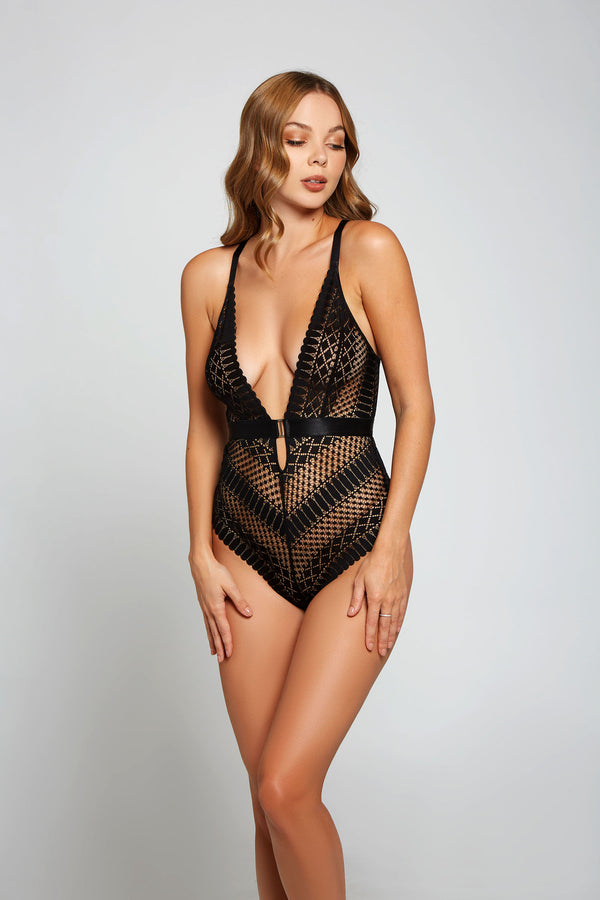 Hazel Halter Open Back Teddy Black