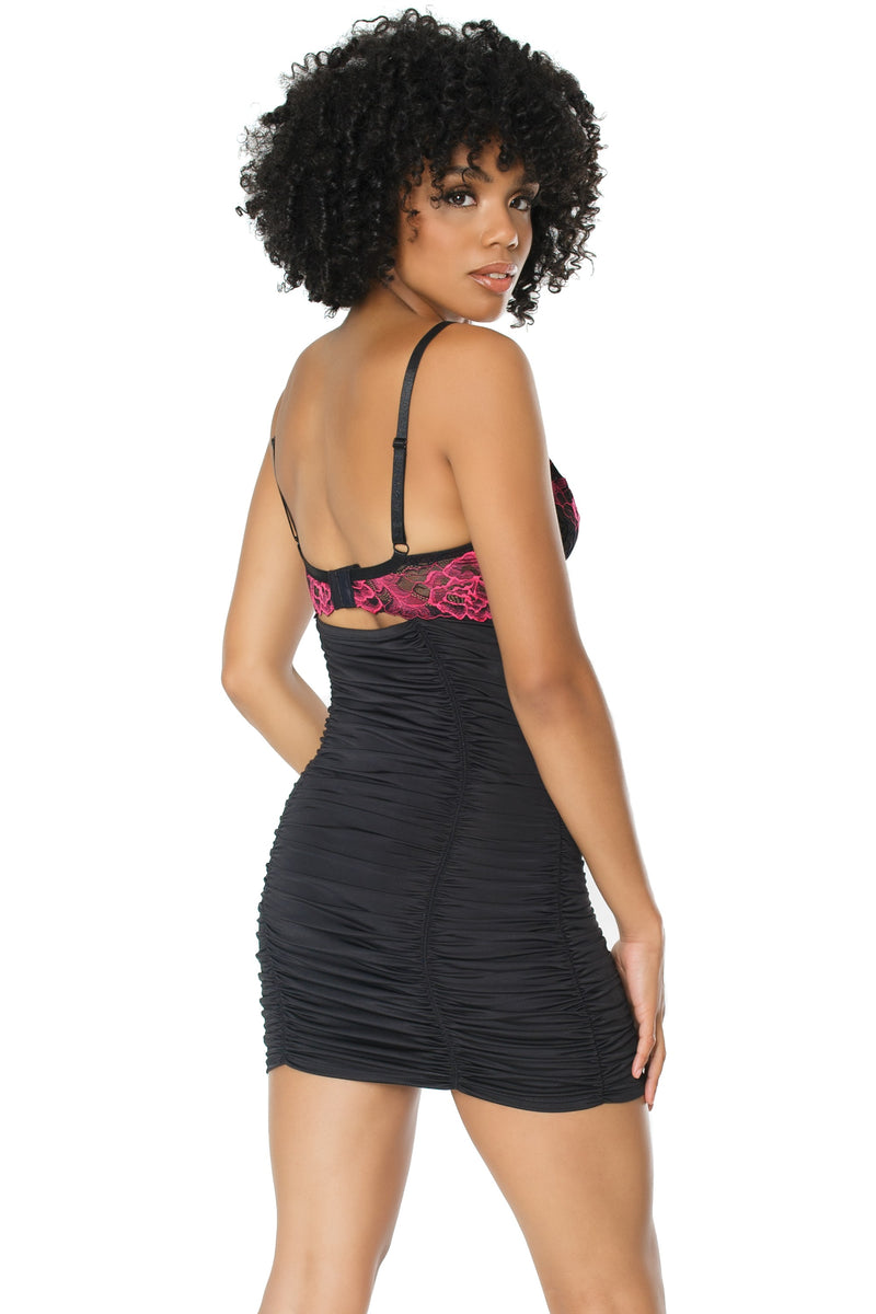 Contrast Lace Ruched Chemise