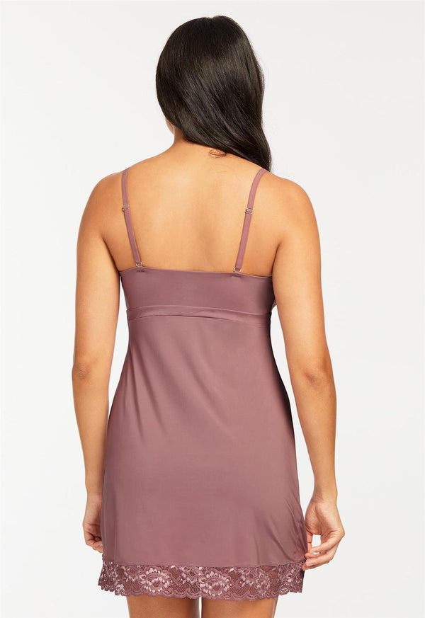 Lace Trim Full Support Chemise Mauve Mist
