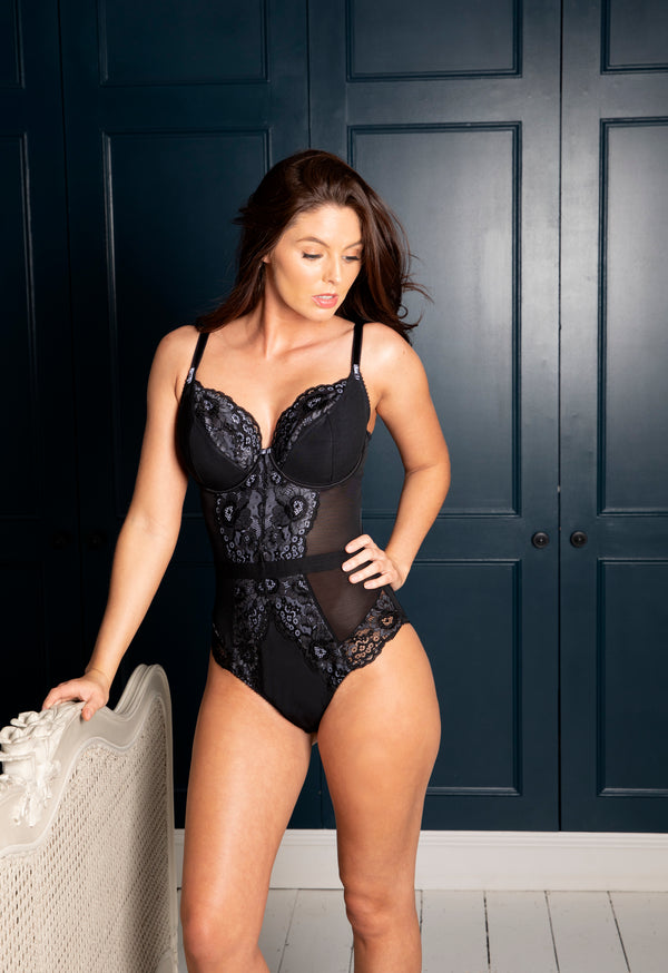 Opulence Underwired Bodysuit Slate/Black