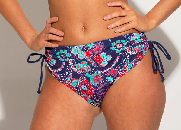Positano Adjustable Side Swim Short Navy Paisley