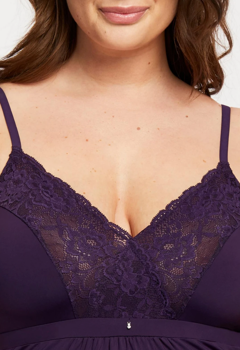 Lace Trim Full Support Chemise Purple Velvet