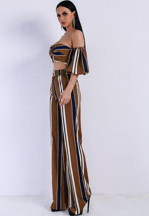 Evelyn Bellluci Pinstripe Two Piece Set Cocktail Dress Evelyn Belluci
