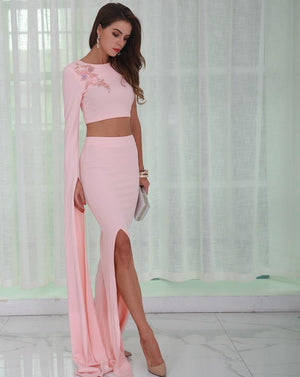Pink Two Piece Gown Cocktail Dress Evelyn Belluci