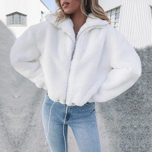 Faux Fur Zipper Jacket Jacket SupprStore WHITE L