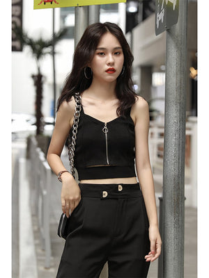 Zipper Sleeveless Crop Top Top SupprStore