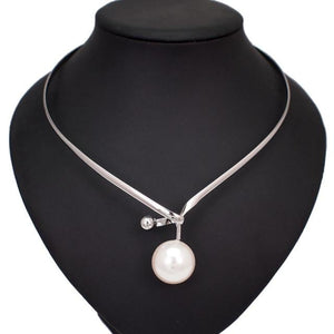 Pearl Pendants Necklace With Metal Alloy Collar Jewellery supprstore Silver Necklaces