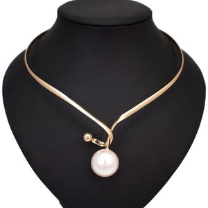 Pearl Pendants Necklace With Metal Alloy Collar Jewellery supprstore Gold Necklaces