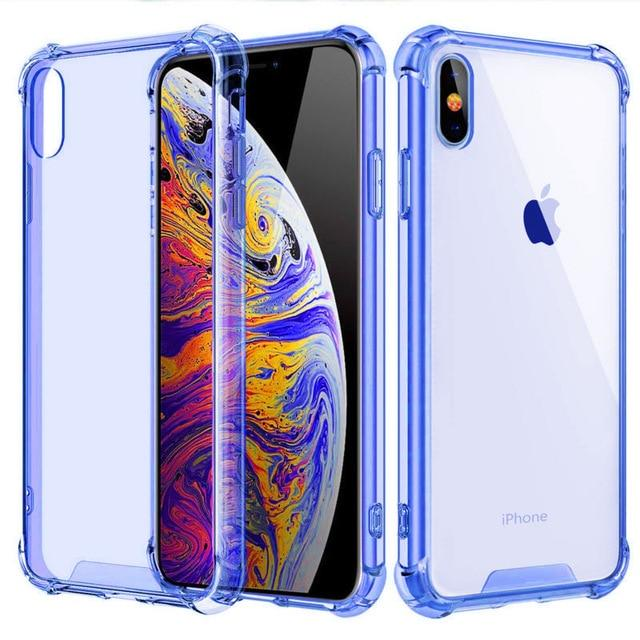 Shockproof Bumper Transparent Silicone Phone Cover For iPhone 11 X XS XR XS Max 8 (Multiple Colors) accessory SupprStore For iphone XS Blue Tint