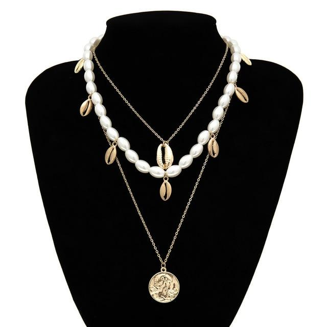 Multi Layered Pearl Choker Necklace Jewellery SupprStore Gold Color 2
