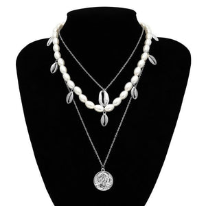 Multi Layered Pearl Choker Necklace Jewellery SupprStore Sliver Color