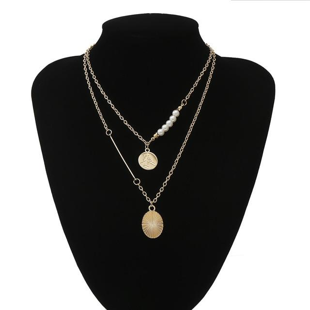 Multi Layered Pearl Choker Necklace Jewellery SupprStore Gold Color 9