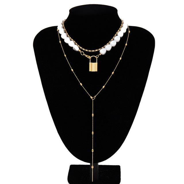 Multi Layered Pearl Choker Necklace Jewellery SupprStore Gold Color 10