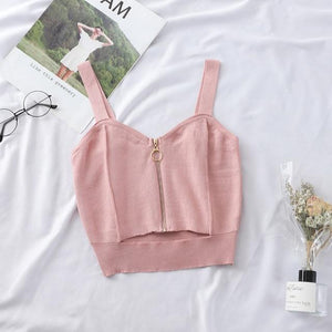 Zipper Sleeveless Crop Top Top SupprStore PINK S