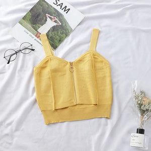 Zipper Sleeveless Crop Top Top SupprStore YELLOW S