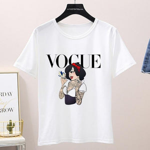 Graphic Vogue Cartoon Tee Shirt (Only White ) Top supprstore P1002-17-white L