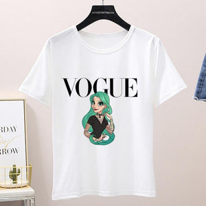 Graphic Vogue Cartoon Tee Shirt (Only White ) Top supprstore P1002-11-white L