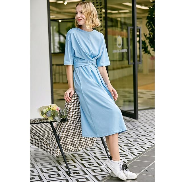 Minimalist Solid Short Sleeve Dress With Belt Lace Up Dress supprstore Blue Long Dresses XS