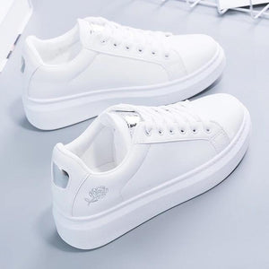 Lace-up White Sneakers Shoe SupprStore Silver 4.5